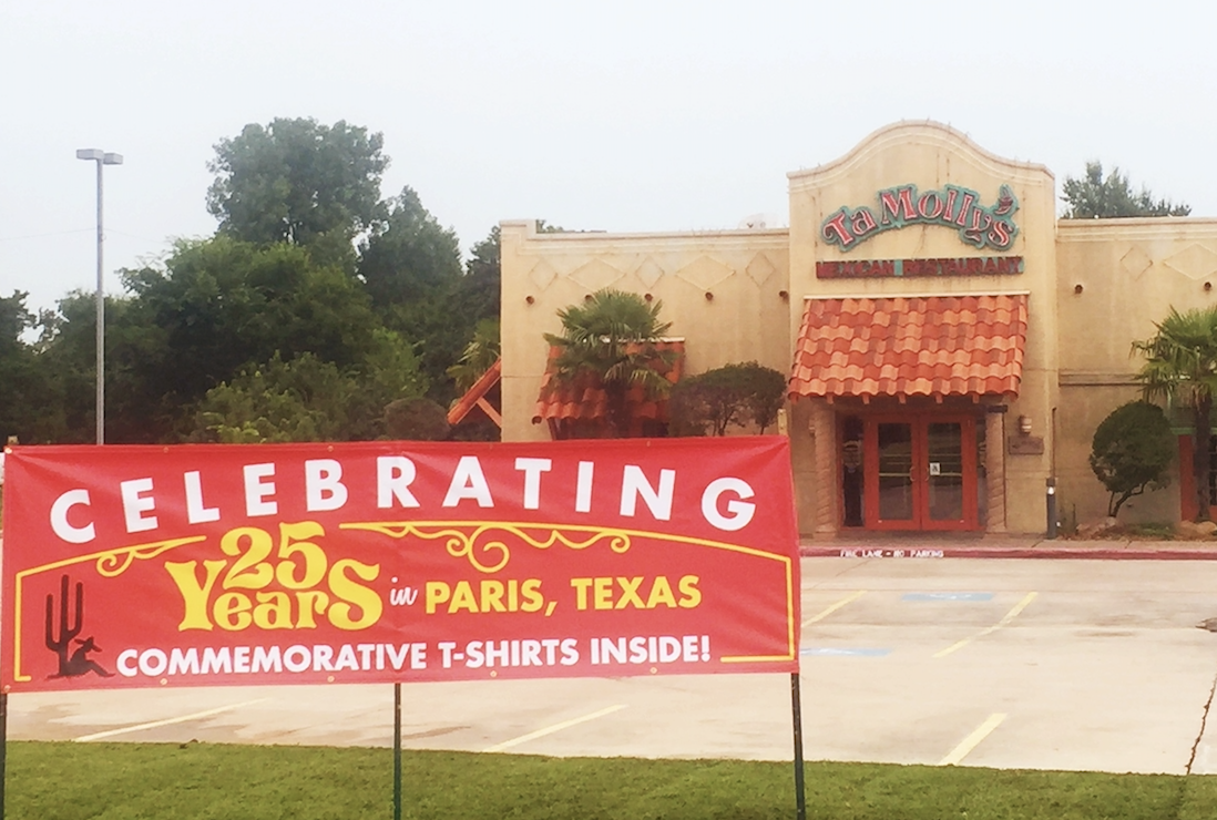 Happy 25th anniversary TaMolly's Paris, Texas!